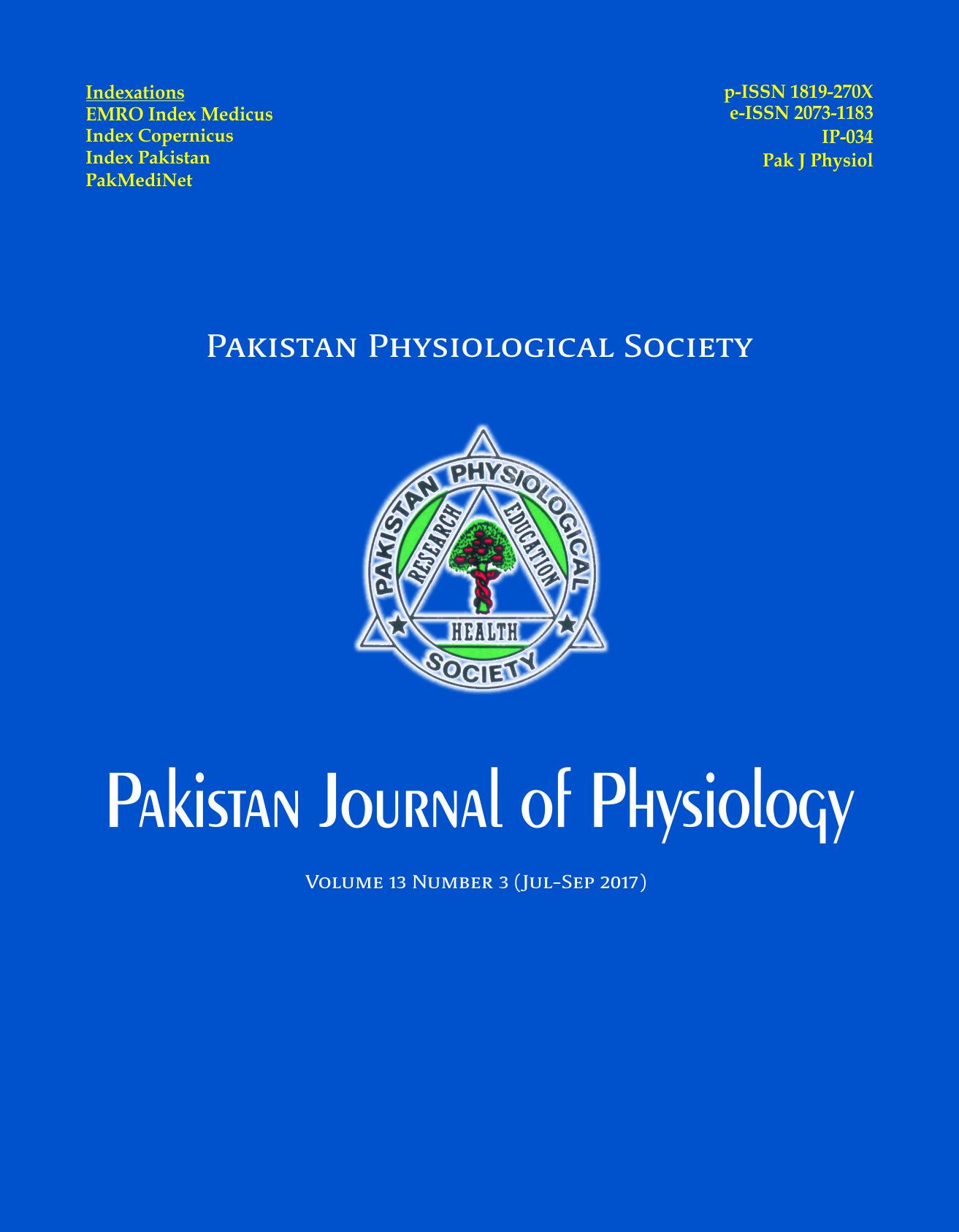 Pak J Physiol 2017;13(3)