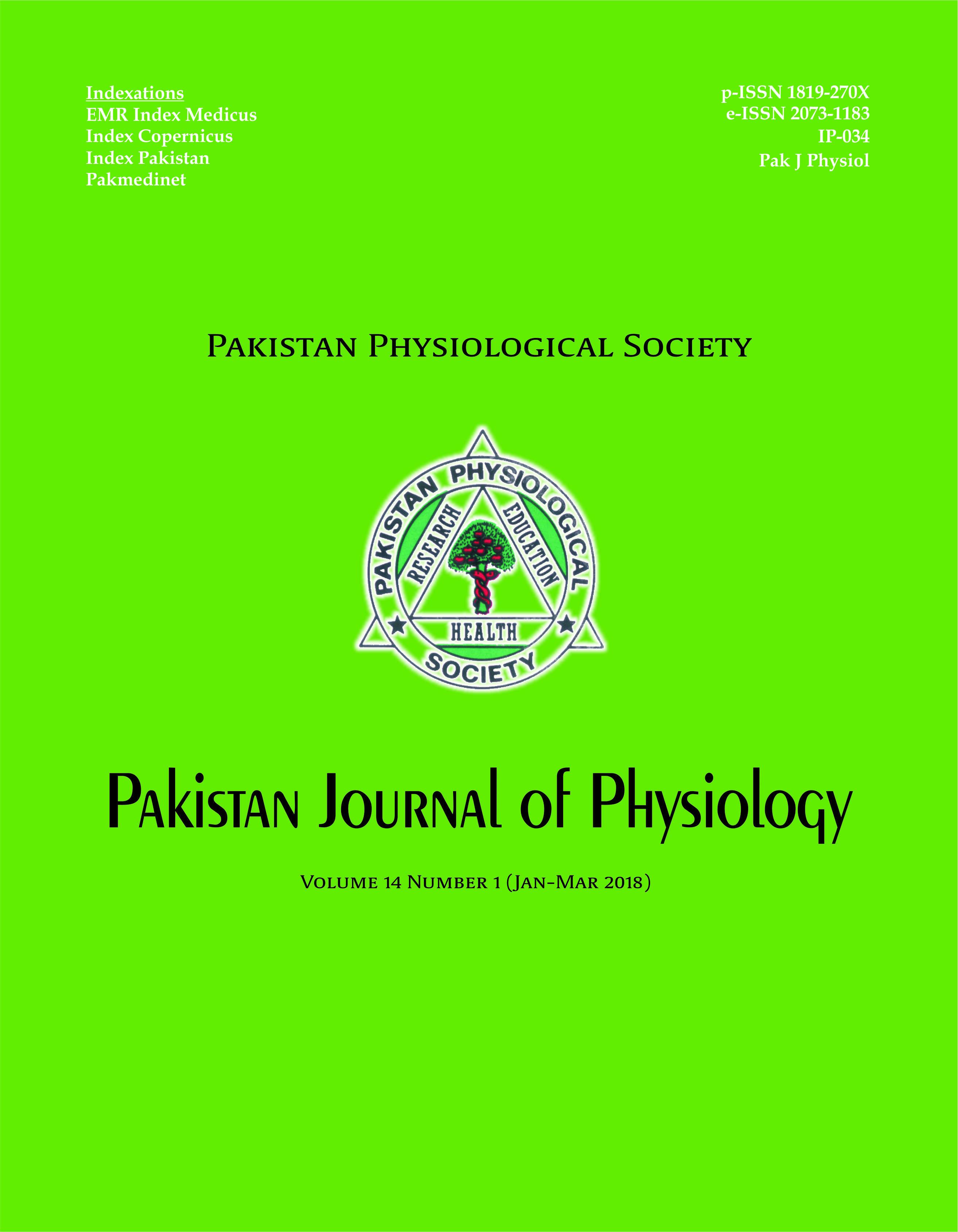 Pak J Physiol 2018;14(1)